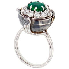 Sirius Sphere 18 Karat White Gold Emerald Ring by Elie Top