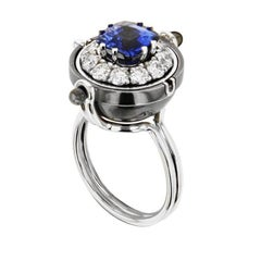 Sirius White Gold Blue Sapphire and Diamonds Ring by Elie Top