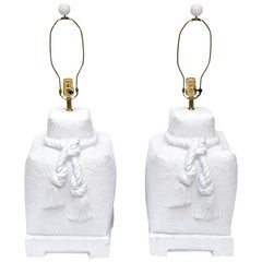 Sirmos Plaster of Paris White Woven Roped and Tasseled Lamps Pair of Vintage