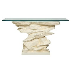Sirmos Console Table, Quarry Rock, Plaster and Glass