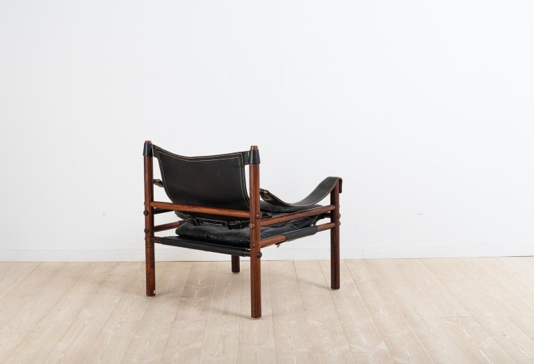 20th Century Sirocco Safari Chair in Black Leather by Arne Norell  For Sale