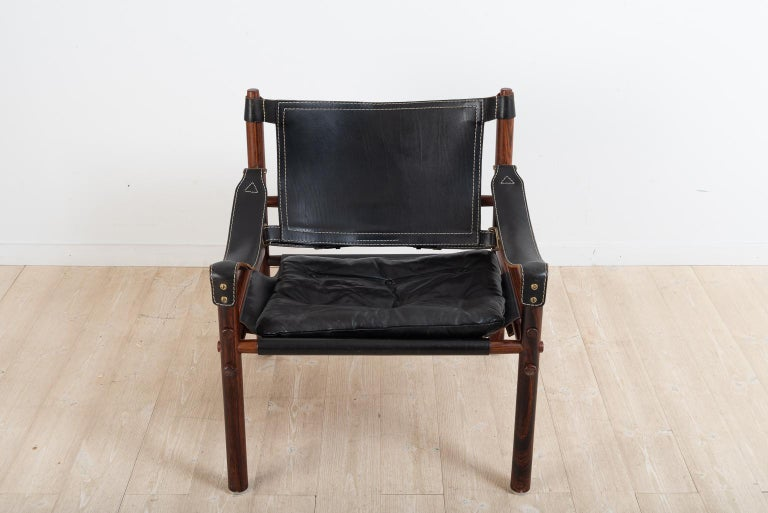 Sirocco Safari Chair in Black Leather by Arne Norell  For Sale 1