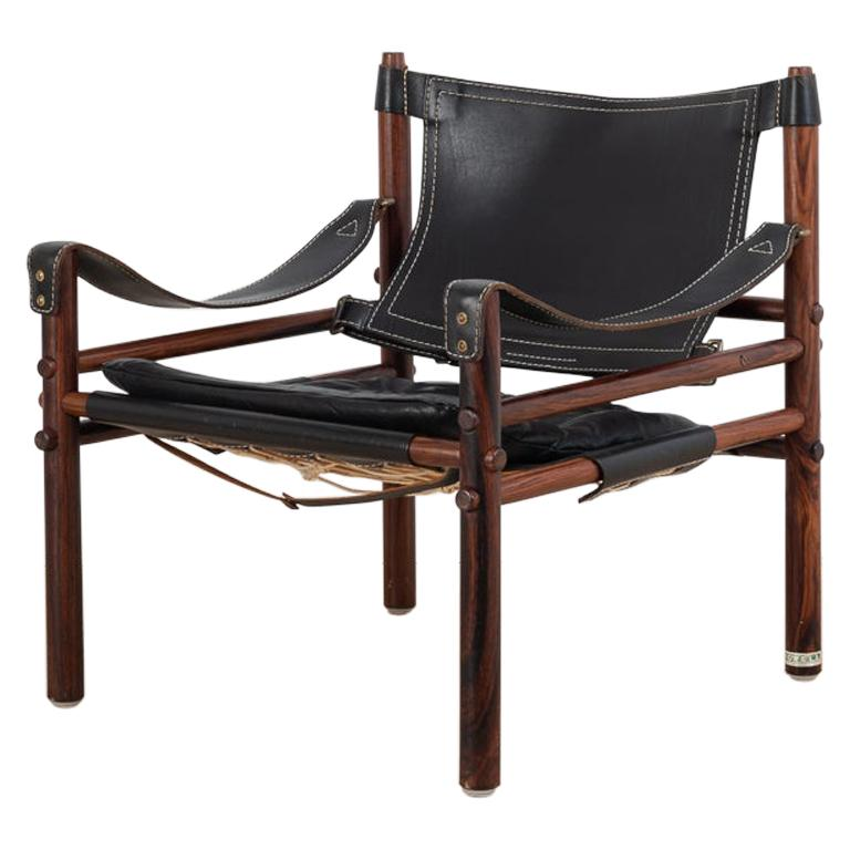 Sirocco Safari Chair in Black Leather by Arne Norell  For Sale
