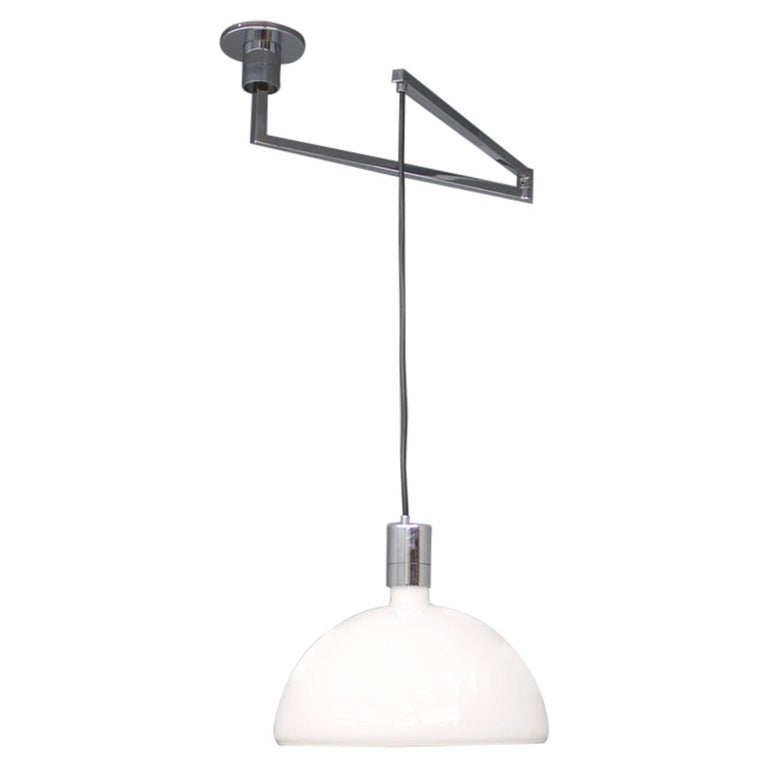 "Sirrah ""Am/as"" Ceiling Lamp with Swing Arm Glass and Chrome Franco Albini, 1960s For Sale"