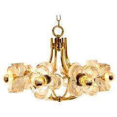 Sische Glass and Brass Chandelier, 1960s Modernist Design, Kalmar Style