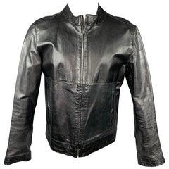 SISLEY Size 38 Black Leather Zip Up Jacket