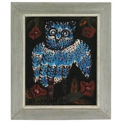 Sisson Blanchard Naive Haitian Painting Blue Owl Oil/ Board, Haiti Listed, 1970s