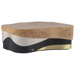 21st Century Sistelo Coffee Table Oak Root Brushed Brass Black and Champagne
