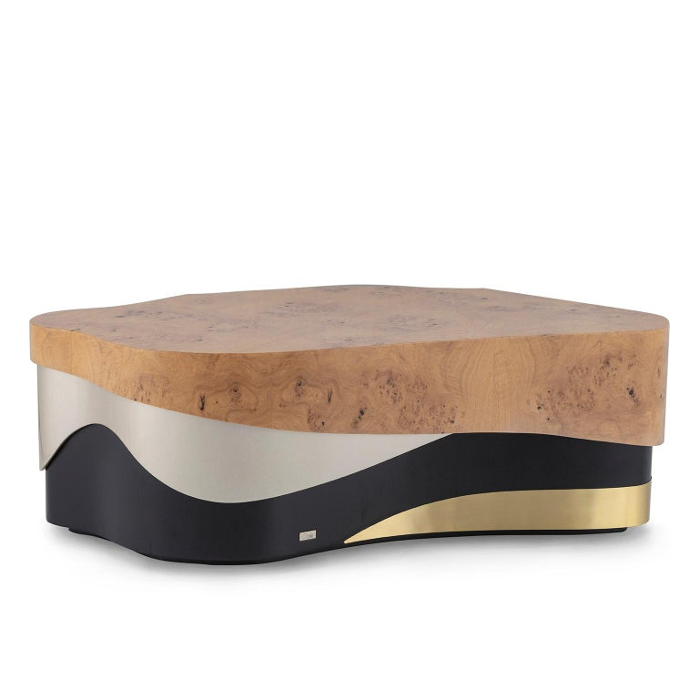 Sistelo Coffee Table Oak Root Brushed Brass Black and Champagne Lacquered For Sale