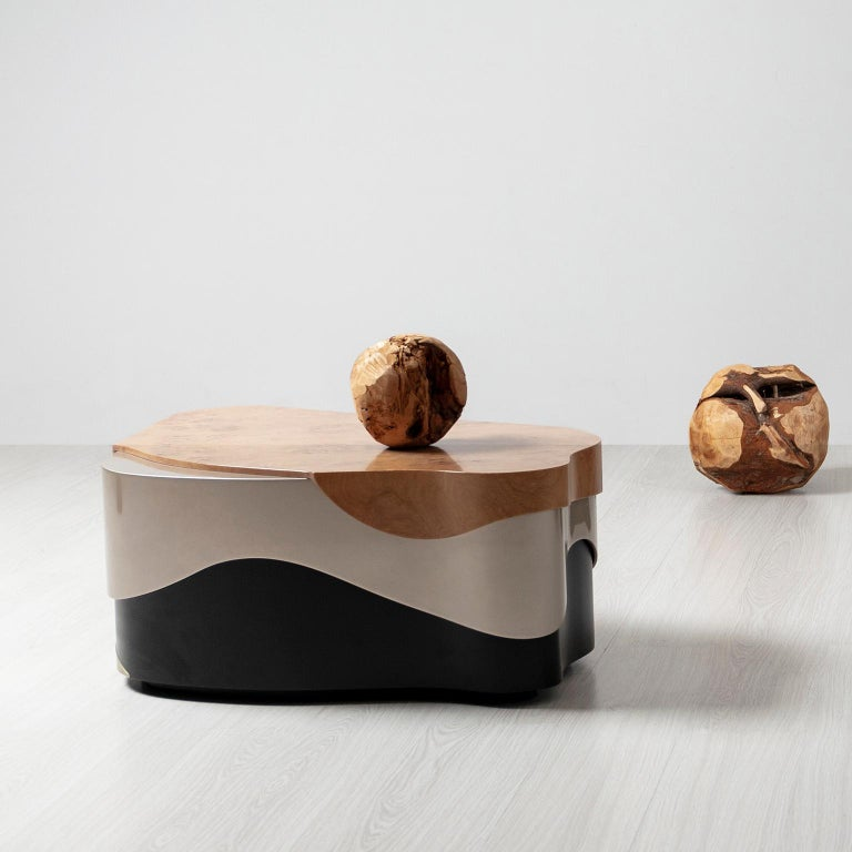 Sistelo Coffee Table Oak Root Brushed Brass Black and Champagne Lacquered For Sale 2