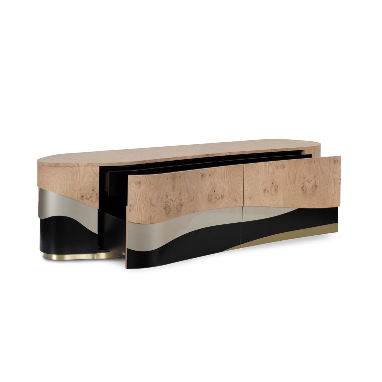 TV unit with 4 drawers. Top in oak root veneer with satin finish. Wooden base lacquered in satin black and high-gloss champagne-colored bronze powder. Inlay metal details in brushed brass with a high-gloss finish.  Sistelo TV Unit  FI007 black