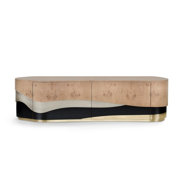 Sistelo TV Unit Oak Root Brushed Brass Black and Champagne Lacquered For Sale