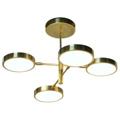 Sistema, Brass 4 Rotating Orbitale Arms Chandelier, for Round Dining Table