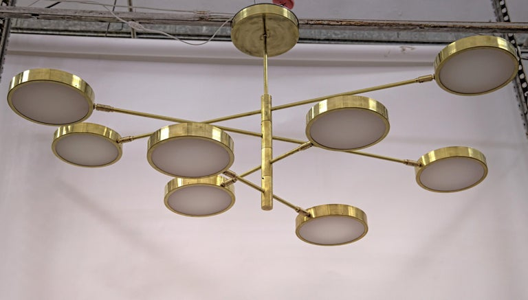 Sistema, Brass 8 Rotating Orbitale Arms Chandelier, Featured for Dining Table For Sale 3