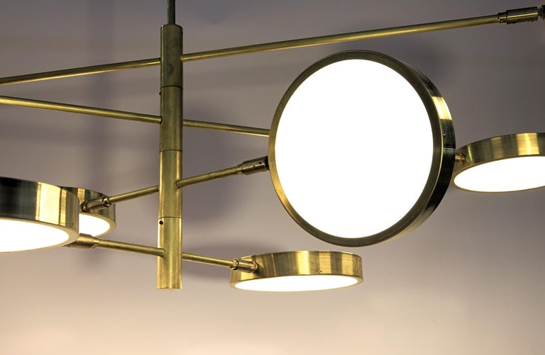 Italian Sistema, Brass 8 Rotating Orbitale Arms Chandelier, Featured for Dining Table For Sale