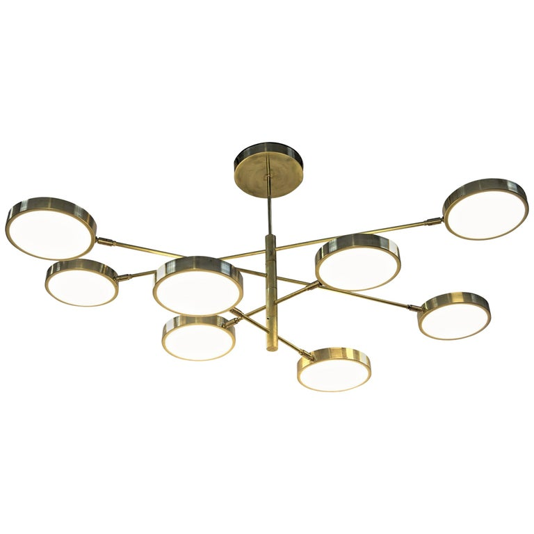 Sistema, Brass 8 Rotating Orbitale Arms Chandelier, Featured for Dining Table For Sale