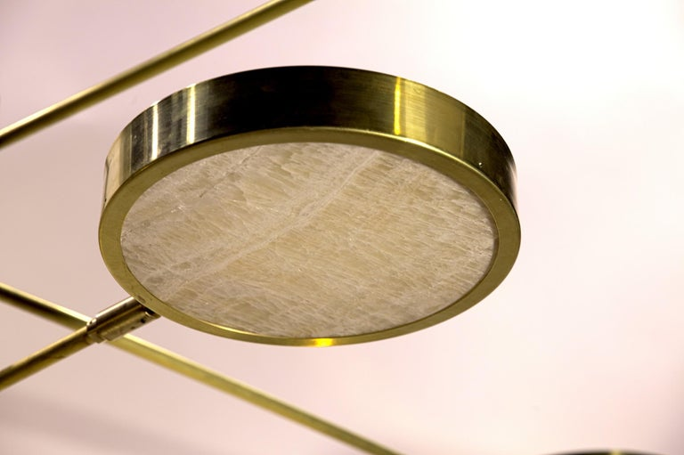 Sistema Solare, Luxury Ivory Onyx and Brass 8 Rotating Orbitale Arms Chandelier For Sale 9