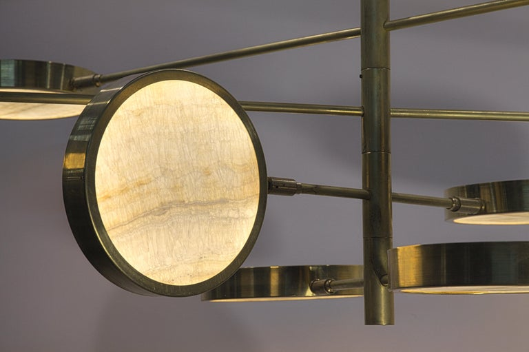 Sistema Solare, Luxury Ivory Onyx and Brass 8 Rotating Orbitale Arms Chandelier For Sale 11