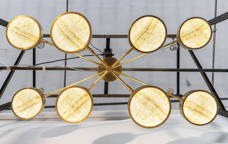 Patinated Sistema Solare, Luxury Ivory Onyx and Brass 8 Rotating Orbitale Arms Chandelier For Sale