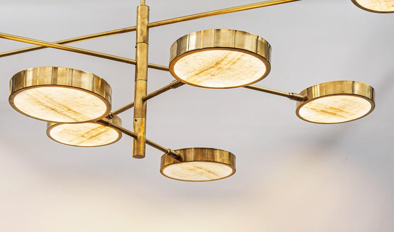 Contemporary Sistema Solare, Luxury Ivory Onyx and Brass 8 Rotating Orbitale Arms Chandelier For Sale