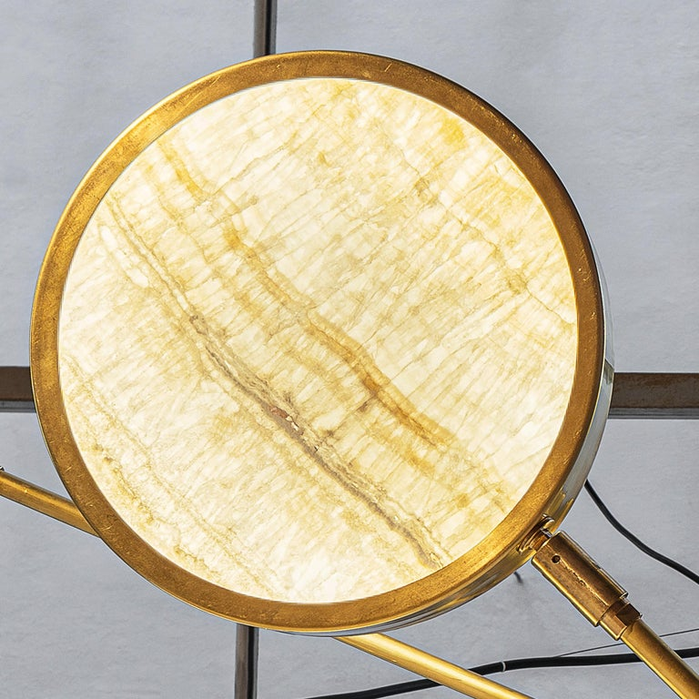 Sistema Solare, Luxury Ivory Onyx and Brass 8 Rotating Orbitale Arms Chandelier For Sale 1