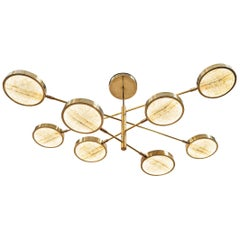 Sistema Solare, Luxury Ivory Onyx and Brass 8 Rotating Orbitale Arms Chandelier