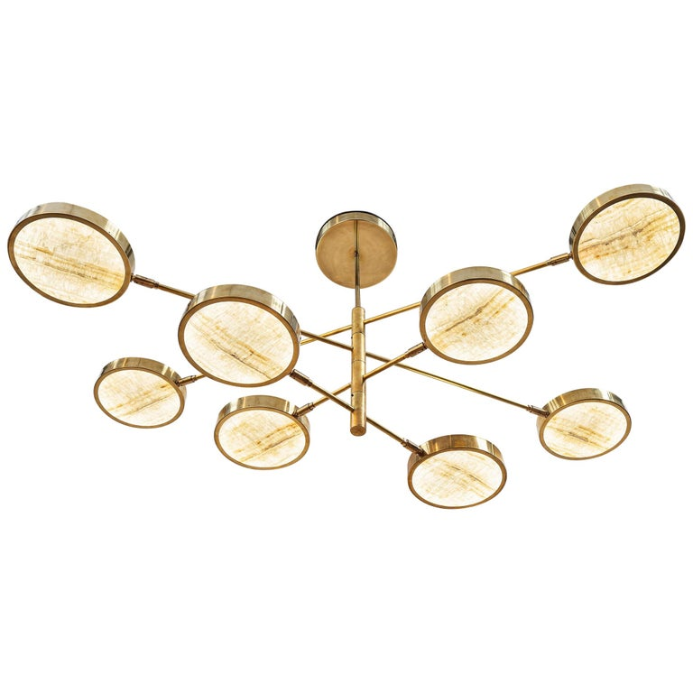 Sistema Solare, Luxury Ivory Onyx and Brass 8 Rotating Orbitale Arms Chandelier For Sale
