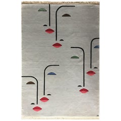Hand-Knotted Grey Wool & Silk Rug w/ Faces by Cecilia Setterdahl for Carpets CC