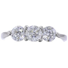 Sitara Round Diamond Ring Round 1.04 Carat Three-Stone Ring GSI Report