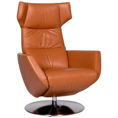 Sitland Twice Leather Armchair Brown Cognac Relaxation Function