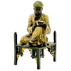 Sitting Arab Writing, Viennese Bronze by Bergmann, circa 1900