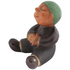 Sitting Ceramic Monk 'Book Support' Manufacture Walter Bosse, Vienna, 1950