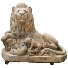Sitting Lion with Cubs Hand Carved Solid Limestone Marble Sculpture