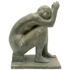Sitting Nude Olive Green Terracotta Sculpture by Marta Lesenyei, 1970s