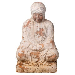 Sitting Terracotta Buddha Sculpture with White Antique Finish
