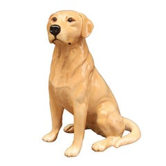 Sitting Yellow Lab Dog Figure by Beswick Pottery 'Fireside Model'