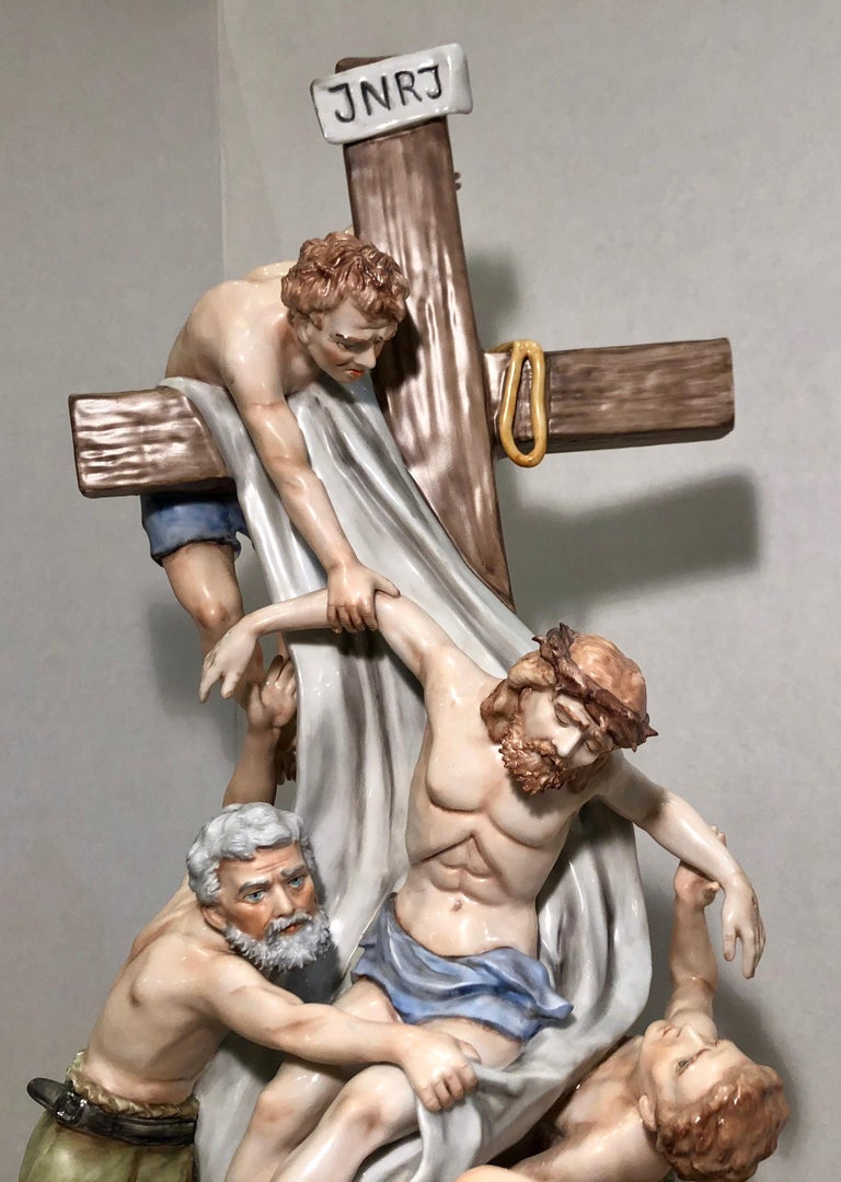Sitzendorf Germany 13th Station of the Cross Museum Quality Porcelain Scene For Sale 8