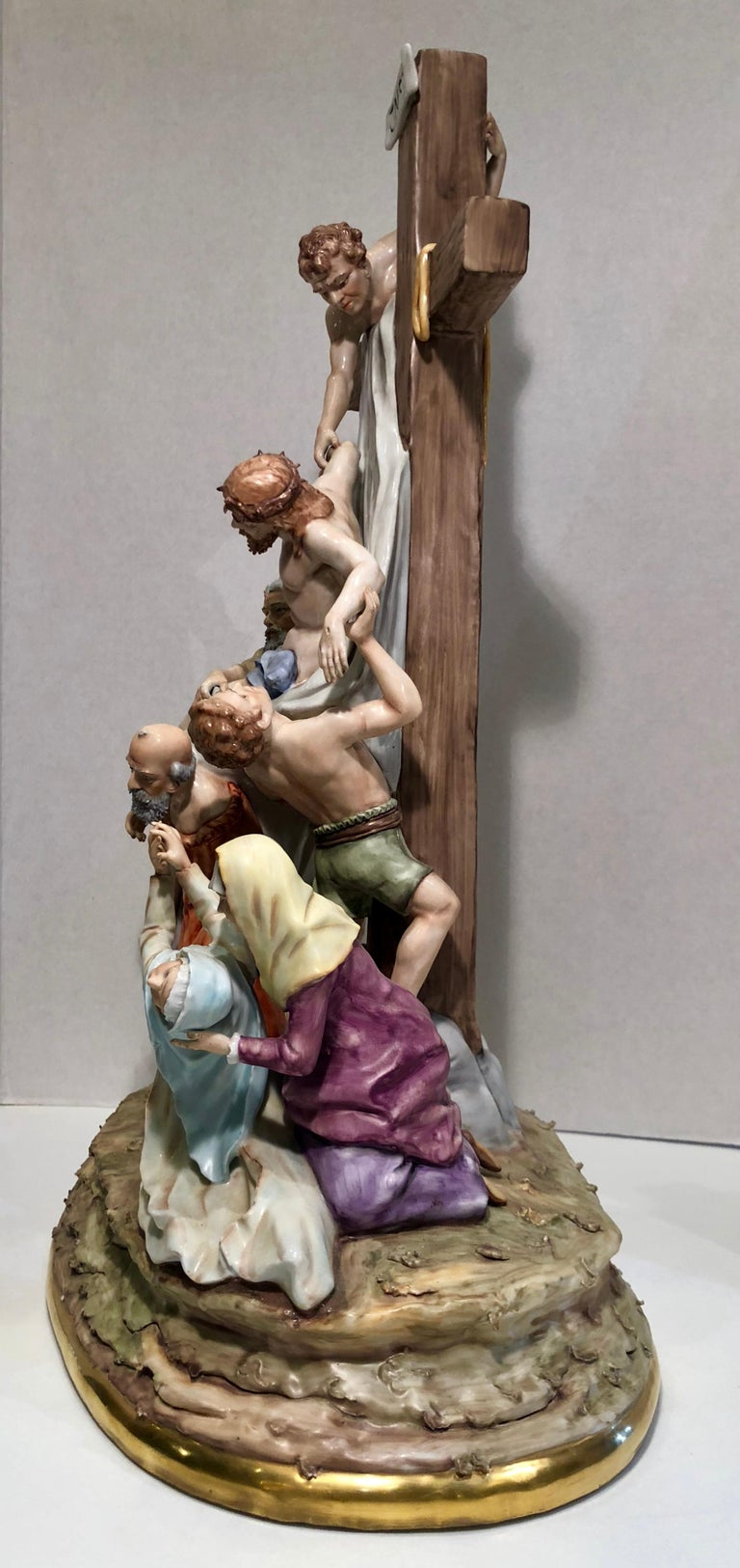 Other Sitzendorf Germany 13th Station of the Cross Museum Quality Porcelain Scene For Sale