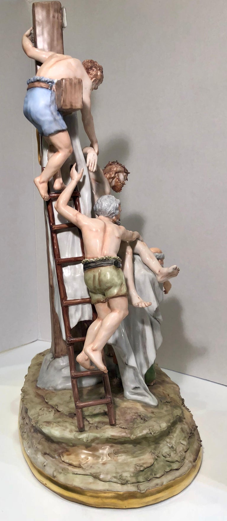 Fired Sitzendorf Germany 13th Station of the Cross Museum Quality Porcelain Scene For Sale