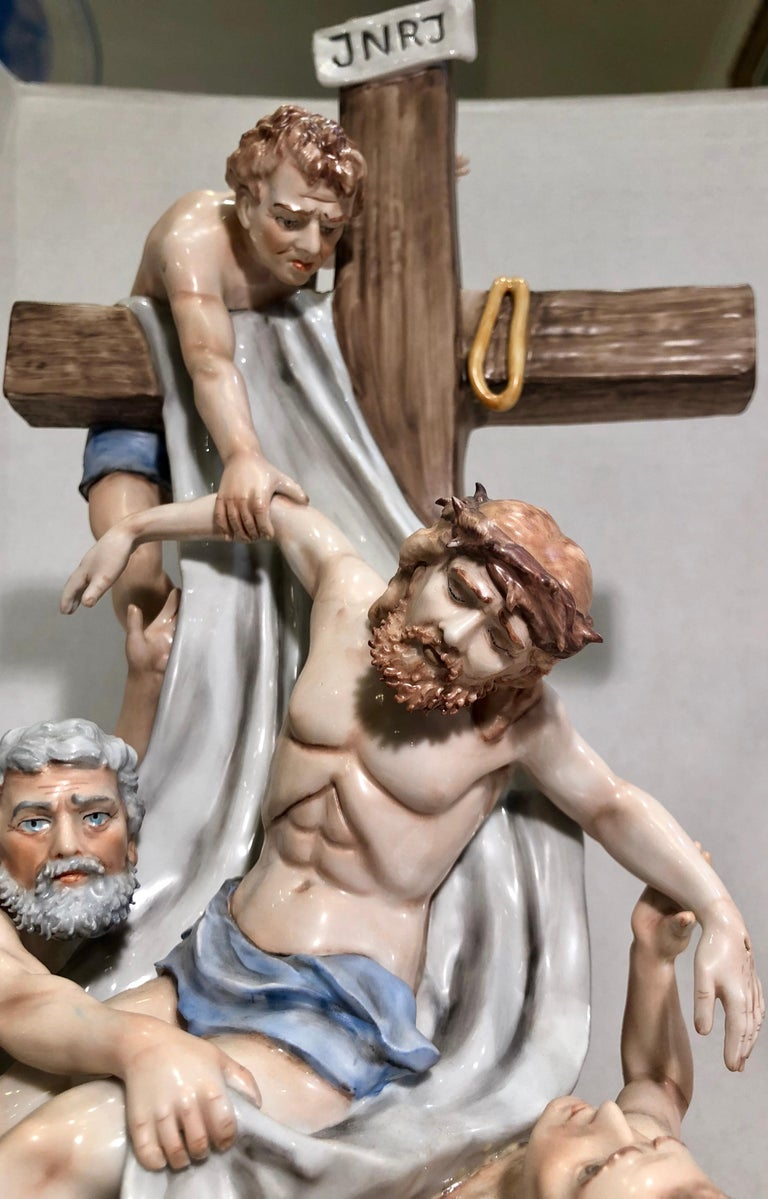 20th Century Sitzendorf Germany 13th Station of the Cross Museum Quality Porcelain Scene For Sale