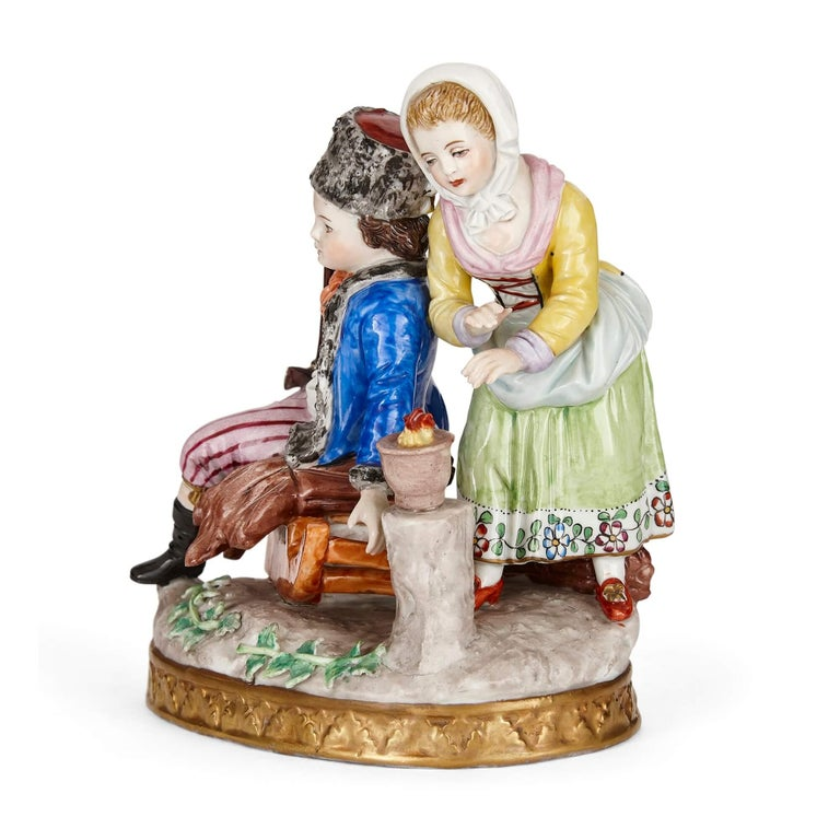 German Sitzendorf Porcelain Group of a Young Couple For Sale