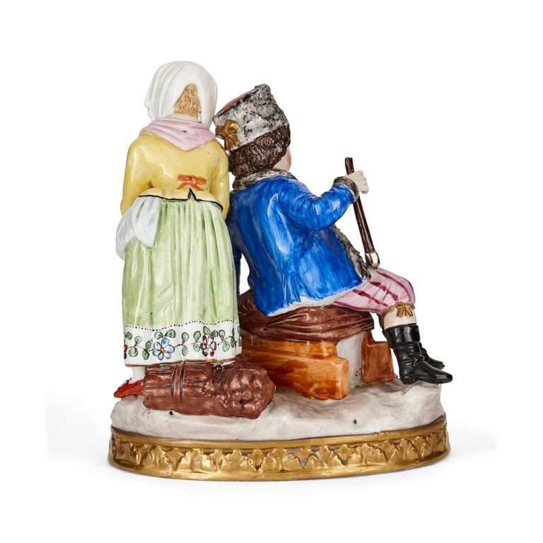 Sitzendorf Porcelain Group of a Young Couple In Good Condition For Sale In London, GB