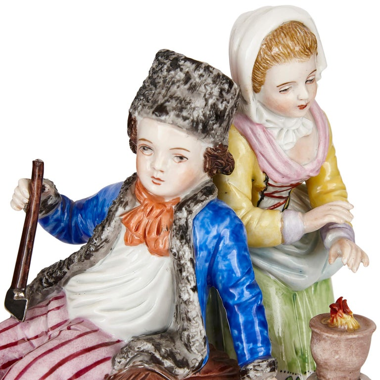 Early 20th Century Sitzendorf Porcelain Group of a Young Couple For Sale