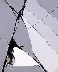 """""""Ok, Computer"""""""" - grey abstract painting of broken glass"""