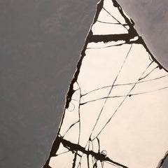 """Untitled"" grey abstract painting with broken glass pattern"