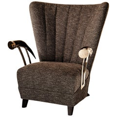 Siviglia Wingback Armchair, America Horn Arm-Rests, Plated Brass, Florence Made