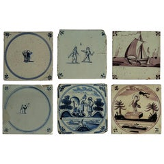 Six 18th Century Dutch Delft Ceramic Wall Tiles Blue and Manganese Hand Painted