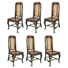 Six 18th Century Elegant Dining Room Chairs, England, 1750