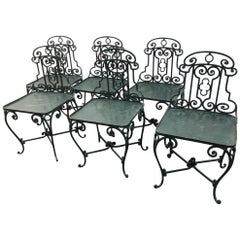 Six 1940s French Wrought Iron Garden Chairs