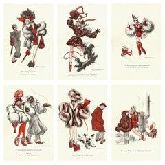 Six 1940s Satirical Vintage Drawings